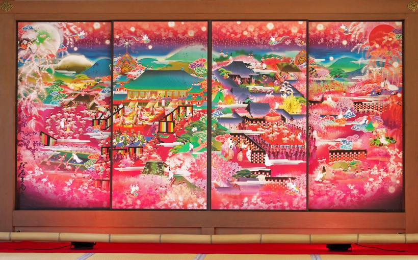 京都・山科 随心院のフォトジェニックな極彩色襖絵